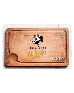 Gift Card La Cabrera S/ 200