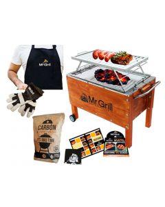Mediana Premium Acero Inoxidable + Parrilla + Mandil + Guantes de Tela + Carbón 2kg