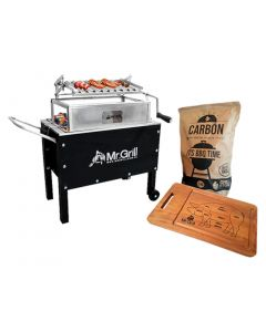 Caja China Mediana Jr. Premium Black Acero Inox + Parrilla Graduable + Carbon 2Kg + Tabla Pig