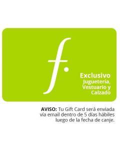 Gift Card S/. 400 en Saga Falabella Exclusivo Juguetería Vestuario y Calzado.