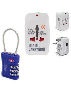 Candado G/Adap Corriente Miami Carry On TLL09BL/TLK301USBWH