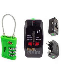 Candado G/Adap Corriente Miami Carry On TLL09LG/TLK301USBBK