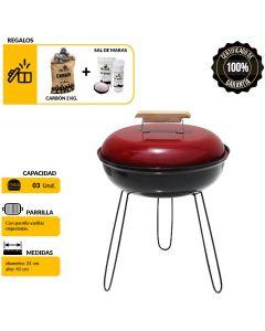 Parrilla Portátil/Carbón Y Sal Mr.Grill PMCS001 Rojo Y Negro