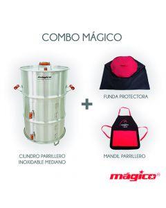 Combo 2: Cilindro Parrillero Inoxidable Mediano + Funda Mediana + Mandil