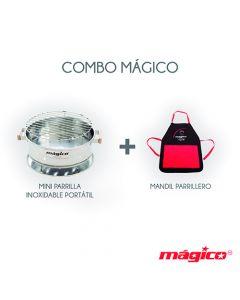 Mini Parrilla Portatil Inoxidable + Mandil Parrillero