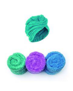 Set X 3 Turbantes De Microfibra Tuwalla. Celeste-Morado-Verde