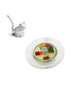 Anillero Gato/Joyero Vidrio Amuleto Argentaria  Silverplated