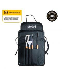Mandil con Utensilio 3 Piezas UW Mr.Grill MGMU3P Negro