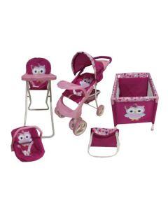Set de Muñeca Baby Kits Maxi Doll Búho Rosado