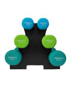 Set Mancuernas de Neopreno ProIron + Rack 1kg.2kg.3kg