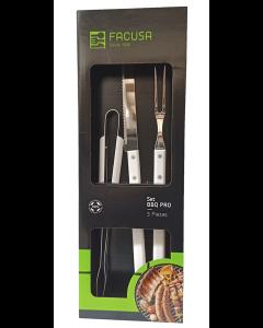 Set 3 Utensilios BBQ Facusa Profesional Premium