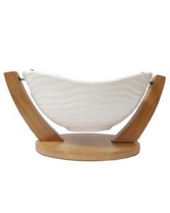 Ensaladera de Porcelana Ichimatsu Base de Bambú Marfil,23cm