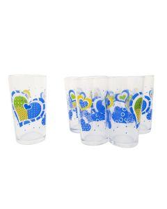 Juego De Vasos de Vidrio Cristar Corazón Azul 6 Piezas