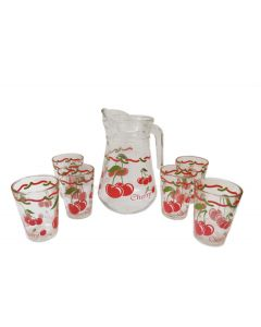 Jarra Con Vasos De Vidrio Kimglass Diseño Cherry 07 Pzas
