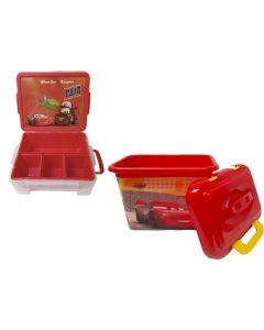 Caja Stacker +Caja organizadora Con Tapa Duraplast Cars Rojo
