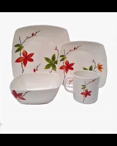 Vajilla De Melamine Ornamin Flower 16 Pzas Blanco Con Flores